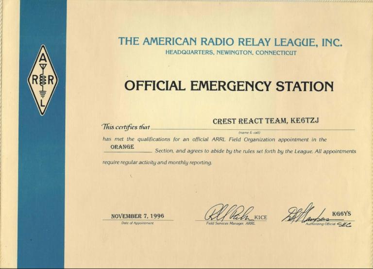 ARRL Official Emergency Station – Certificate – Nov 1996