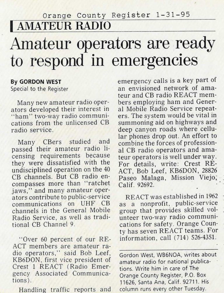Amateur operators ready to respond in emergencies – Jan 1995